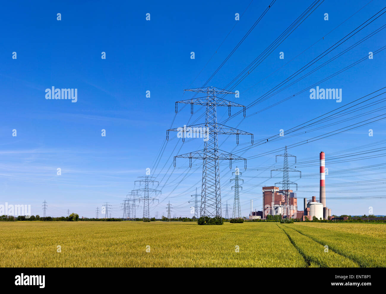 Electricity pylons with power a station in the middle of a agricultural field - track in the field leading towards. - Stock Image