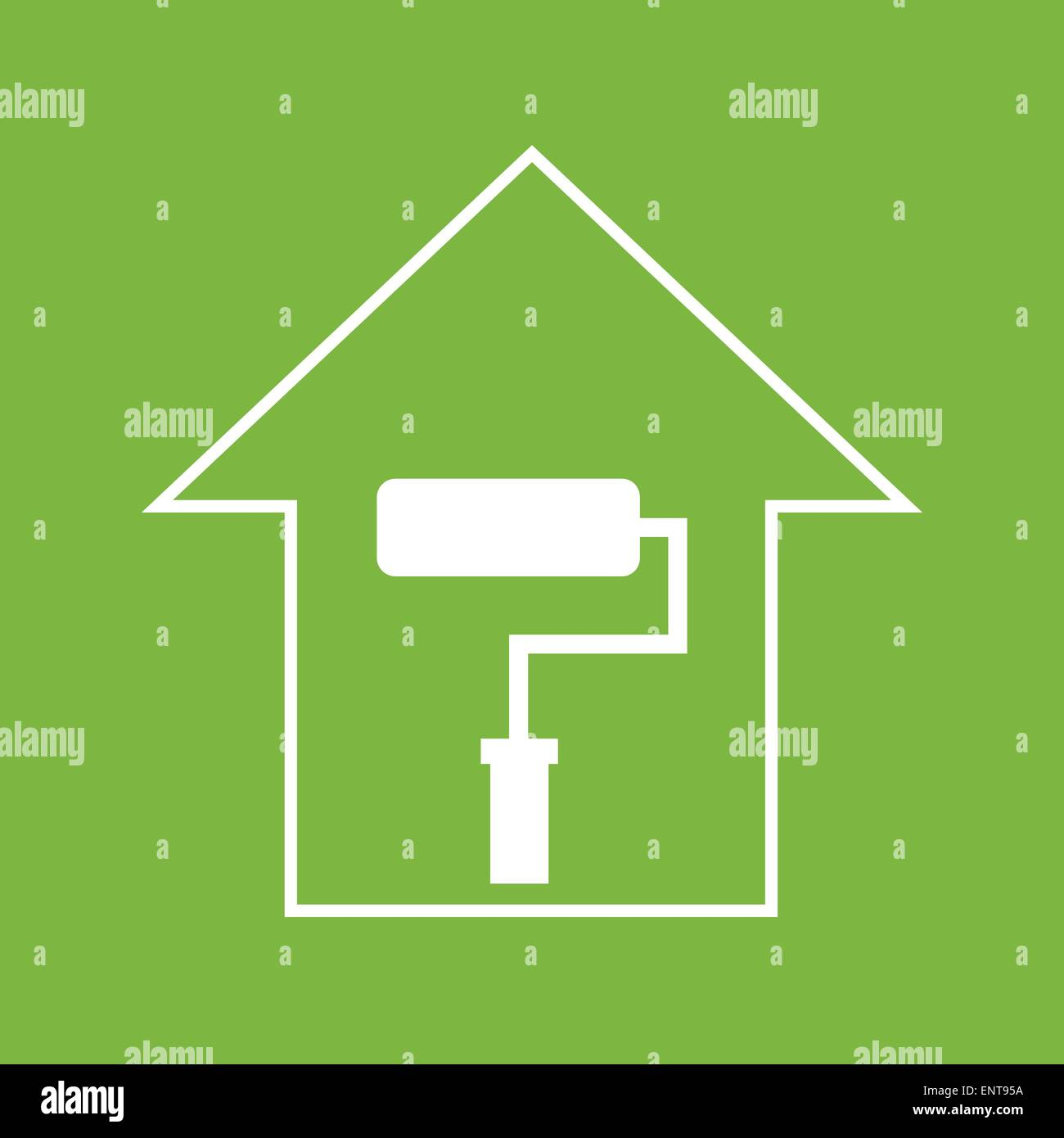 House with paddle roller. White on green - Stock Vector