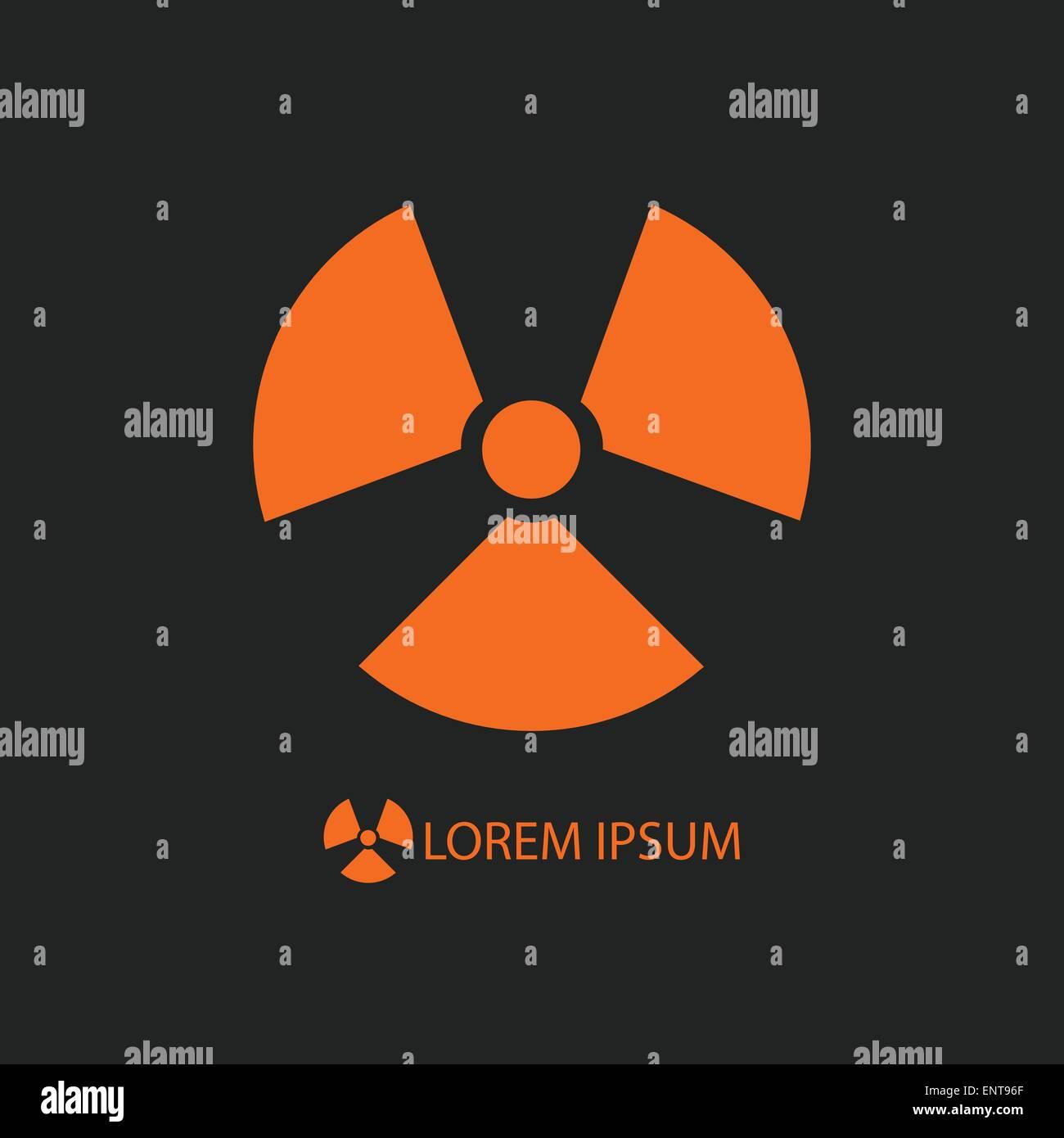 Orange radiation sign on black - Stock Vector