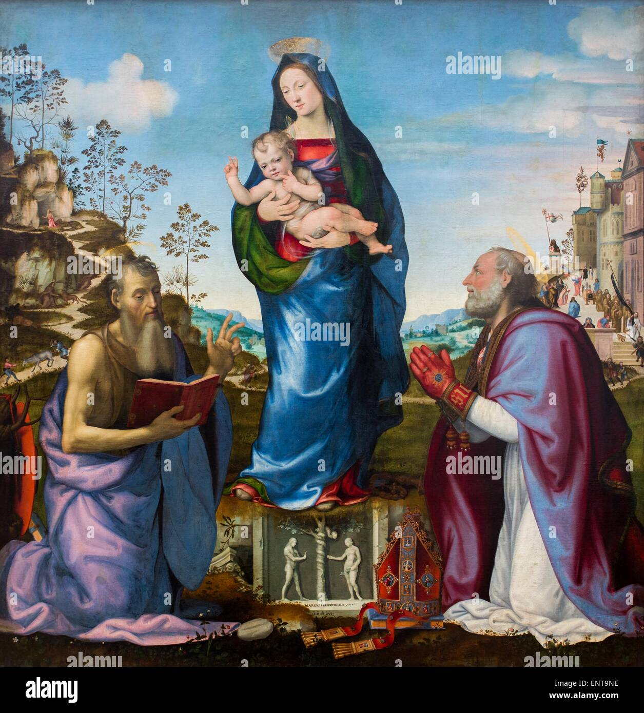 Virgin and Child surrounded by Saint Jerome and Saint Zenobius 26/09/2013 - 16th century Collection - Stock Image