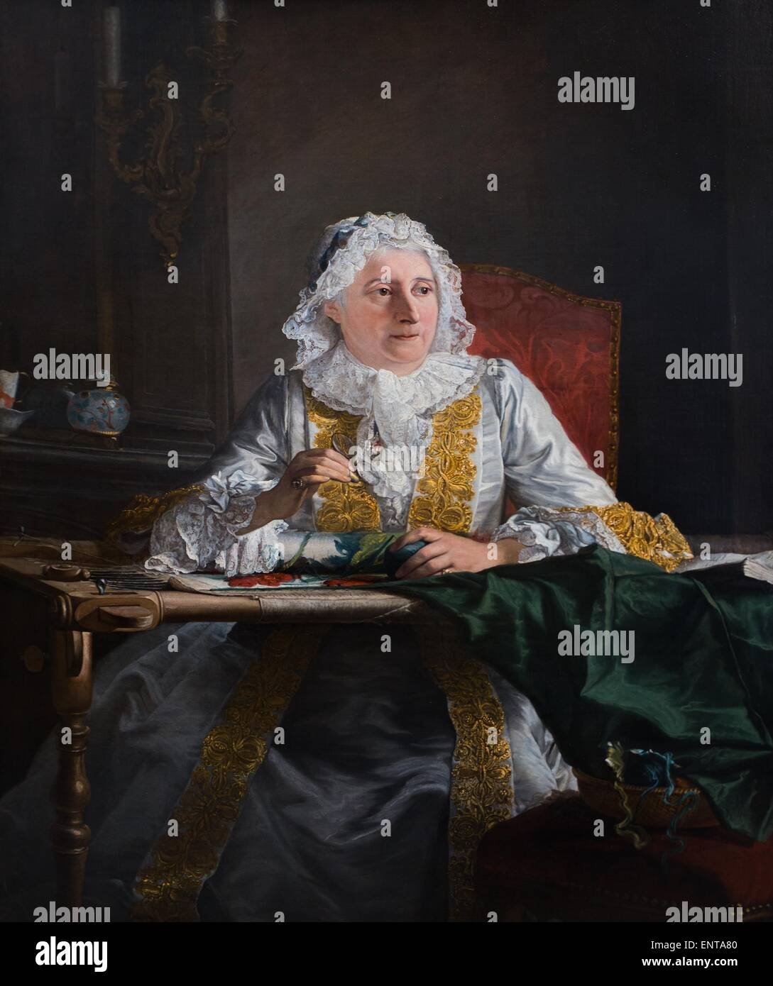 ActiveMuseum_0002962.jpg / Portrait of Madam Crozat Oil on canvas 25/10/2013  -   / 18th century Collection / Active - Stock Image