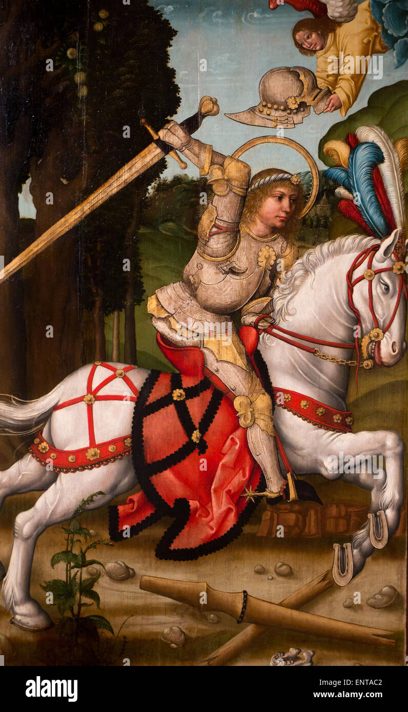ActiveMuseum_0005953.jpg / St George slaying the dragon, Dutch school 05/12/2013  -   / 16th century Collection - Stock Image