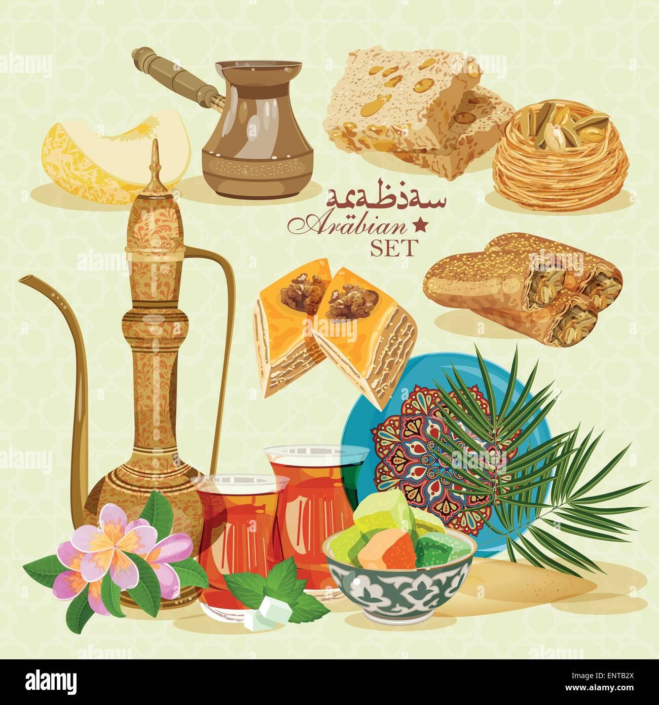 Arabic Food. Traditional eastern cuisine. - Stock Vector