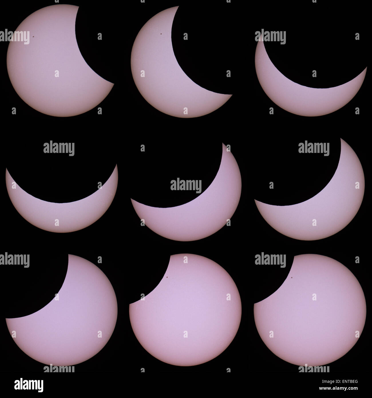 partial solar eclipse in Prague on March 20, 2015 - Stock Image