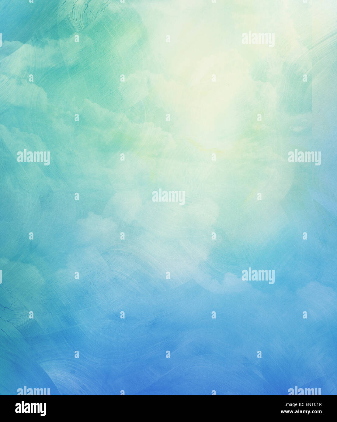 Clouds and sky on blue watercolor background - Stock Image