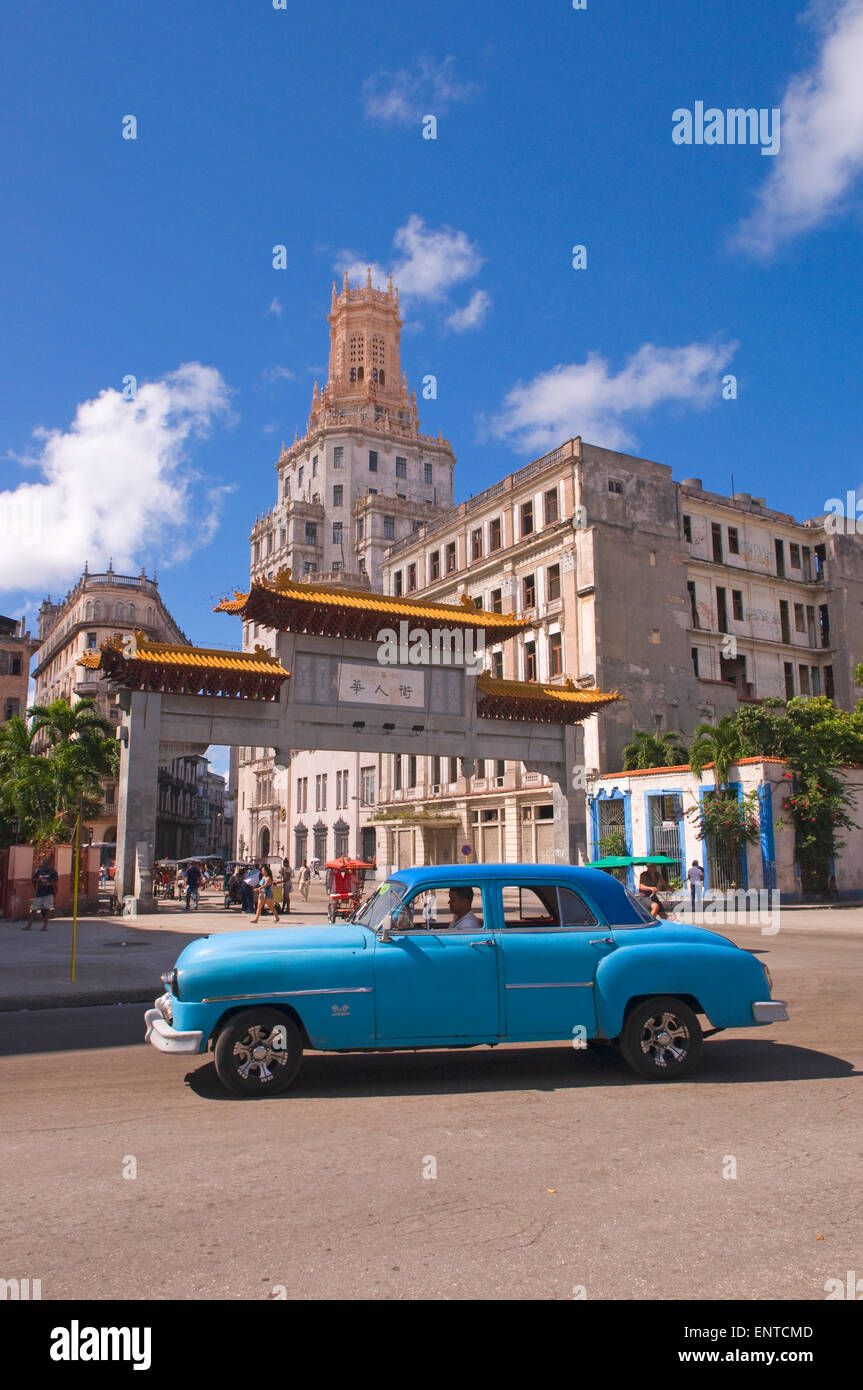 An old American car in the China Town area of Havana, Cuba Stock Photo