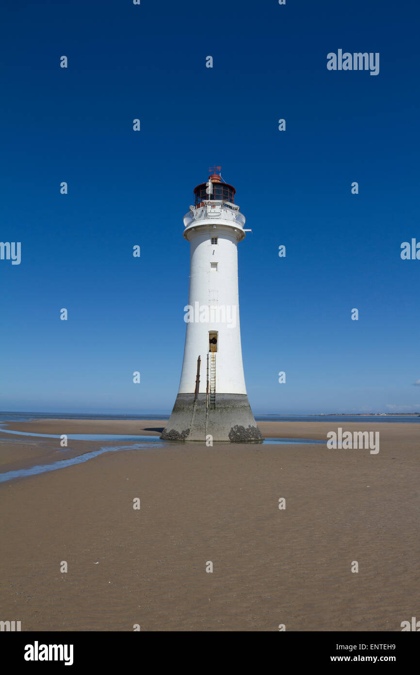 New Brighton lighthouse on the beach, Wallasey, Wirral, Merseyside, England, UK - Stock Image