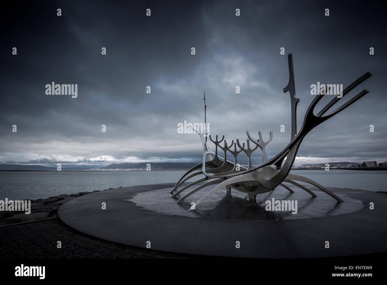 Iceland, Reykjavik, Solfar Viking ship Sculpture - Stock Image