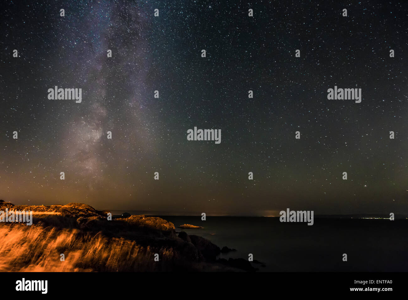 Milky Way Galaxy and stars in the night sky, Scotland, UK - Stock Image