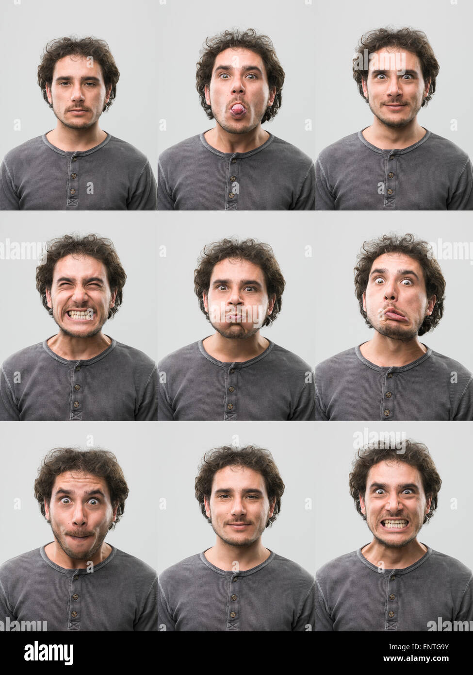young man with different facial expressions. digital composite image - Stock Image