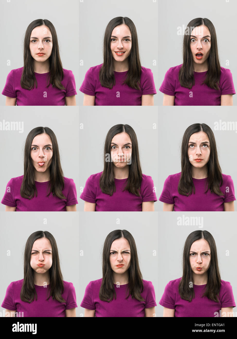 young woman making different faces. digital composite image - Stock Image