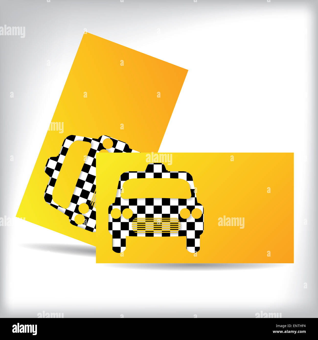 Taxi business card design with cutout checkered car shape Stock ...