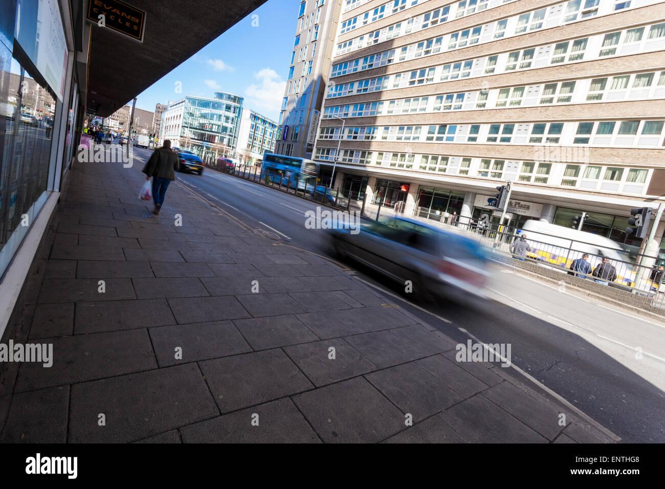 Modern city street and buildings. Maid Marian Way, Nottingham, England, UK - Stock Image