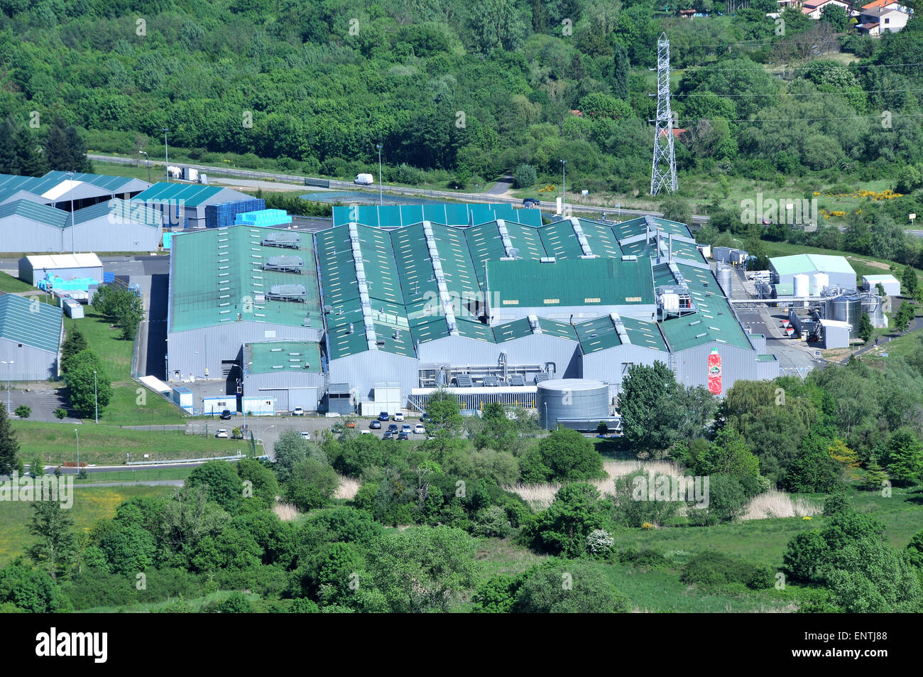 aerial view on Volvic factory Volvic Puy-de-Dome Auvergne Massif-Central France Stock Photo