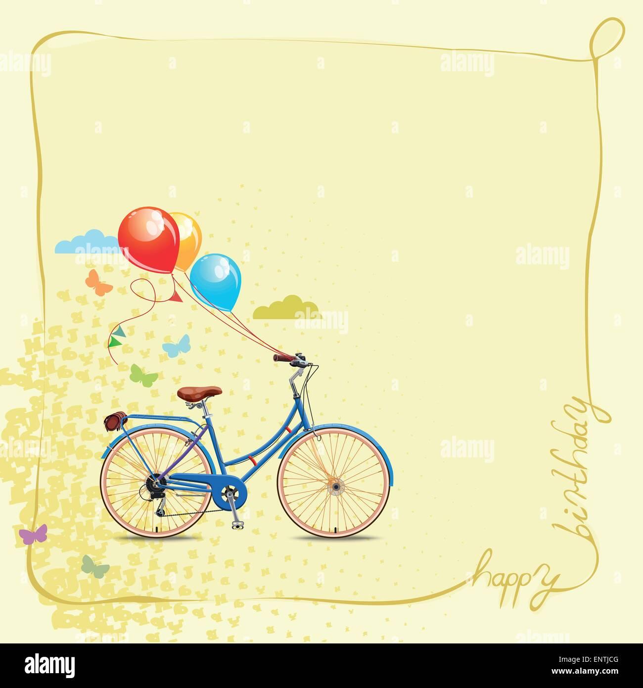 Happy birthday romantic greeting card bicycle and balloons vintage happy birthday romantic greeting card bicycle and balloons vintage style m4hsunfo