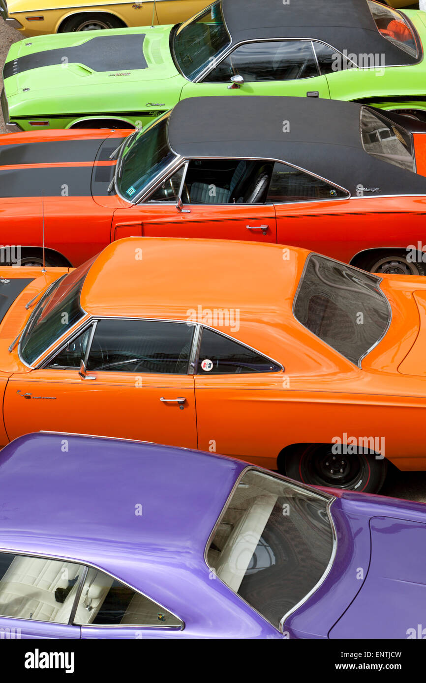 Vintage Dodge Charger and Plymouth Roadrunner muscle cars, high angle view - Stock Image