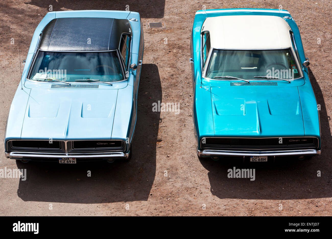 Two vintage Dodge Charger muscle cars, high angle view - Stock Image