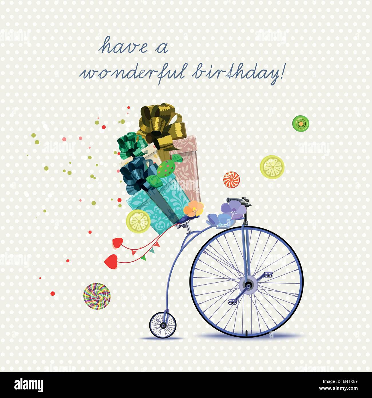 Happy birthday romantic greeting card bicycle and gift vintage happy birthday romantic greeting card bicycle and gift vintage style bookmarktalkfo Gallery