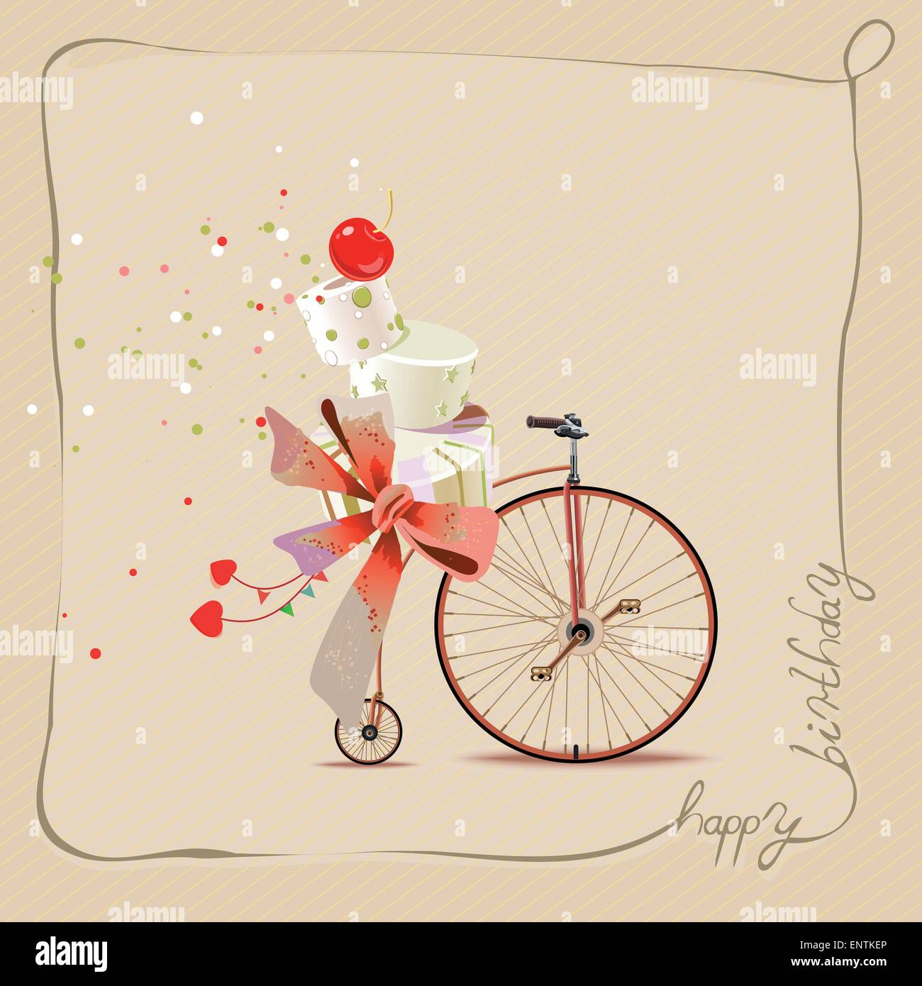 Happy Birthday Romantic Greeting Card Bicycle And Cake Vintage