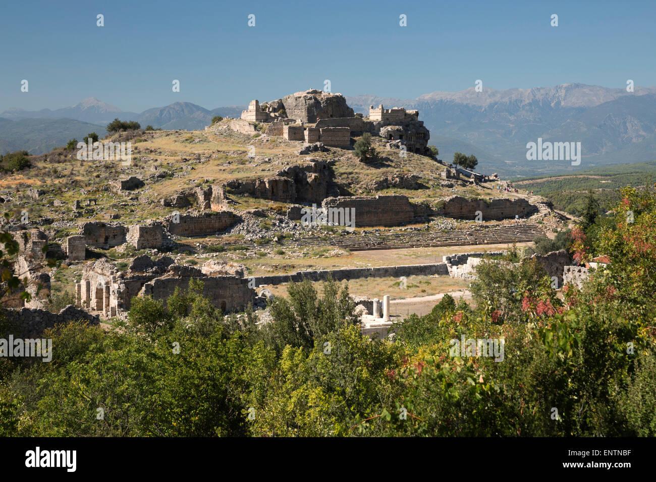 Ruined stadium and Acropolis, Tlos, near Kalkan, Lycia, Antalya Province, Mediterranean Coast, Southwest Turkey, - Stock Image