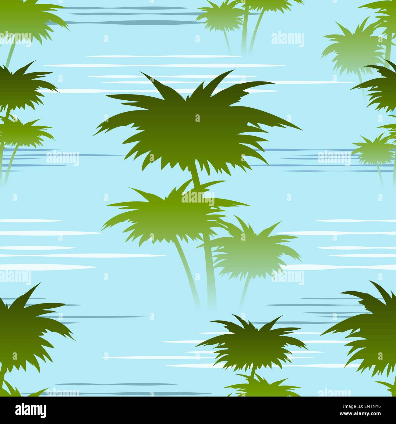 seamless colorful pattern with palm trees on a river shallows in the ...