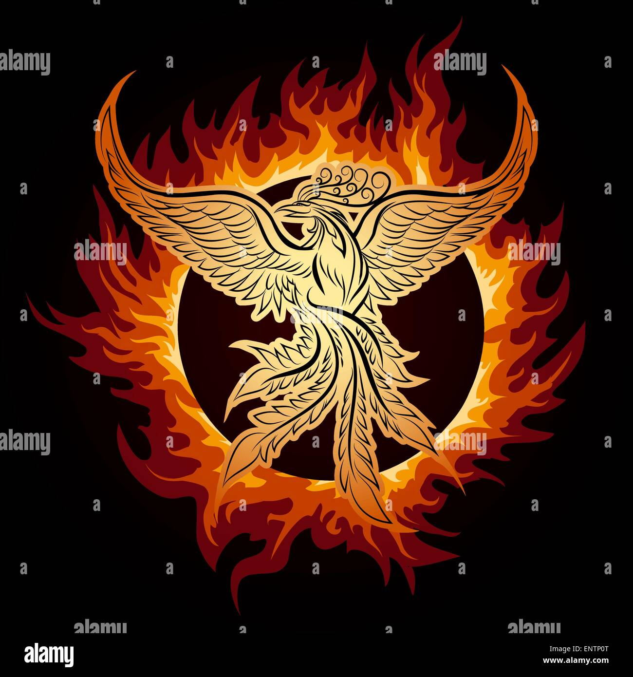 The Phoenix Flying In Ring Of Fire.