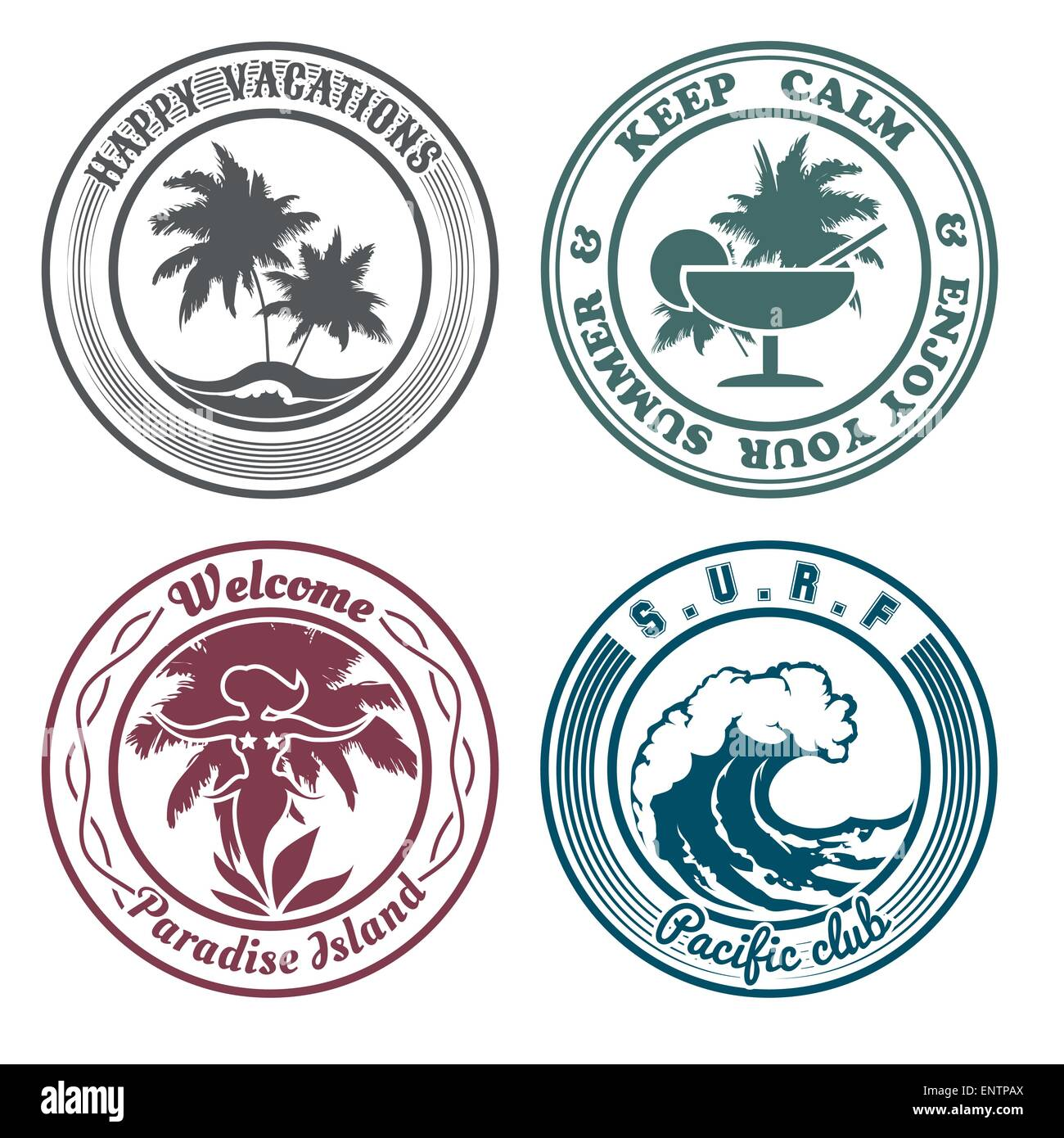 Set of summer holidays stamps or seal with design elements. Palm trees, cocktail, hula dancer, surf wave. Isolated - Stock Vector