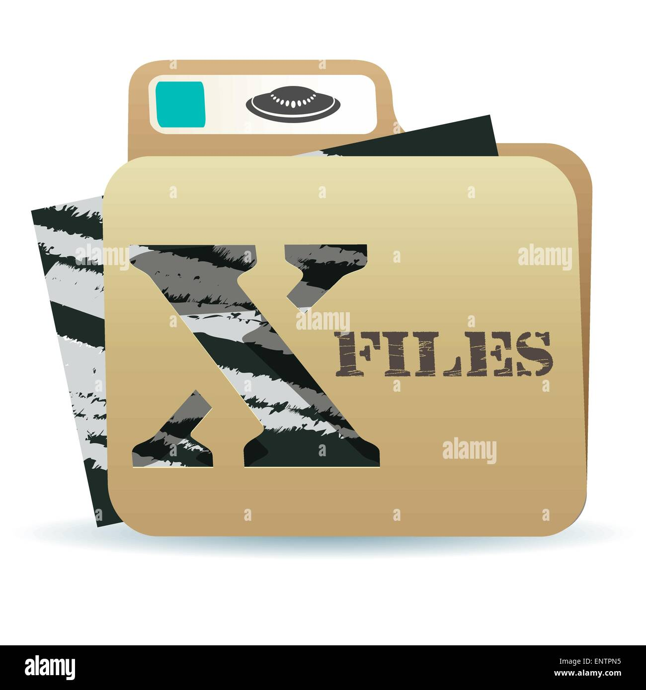 illustration of X files folder icon with inexplicable and mysterious material inside - Stock Image