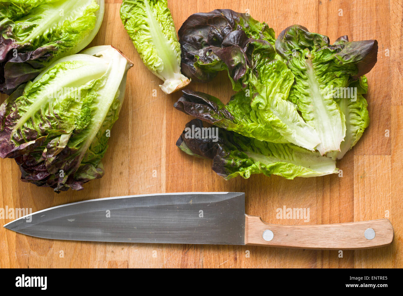 the red lettuce on kitchen table - Stock Image