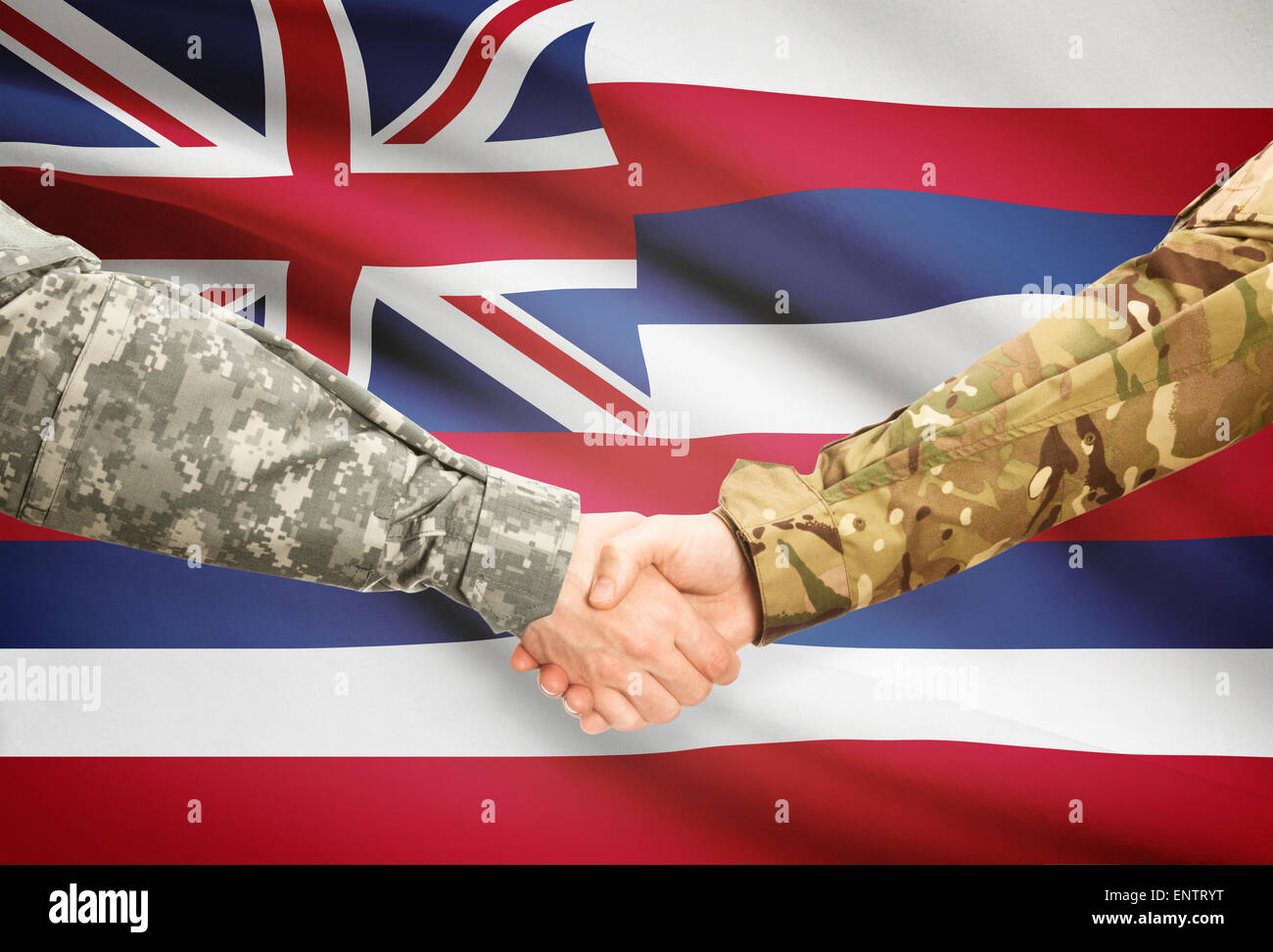 Soldiers handshake and US state flag - Hawaii - Stock Image