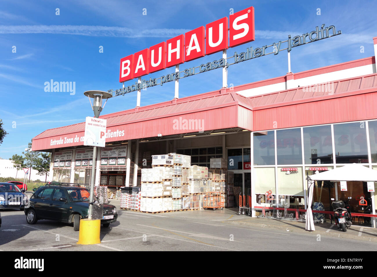 Entrance Bauhaus retail chain store, DIY products, construction, building, Malaga, Andalusia, Spain. - Stock Image