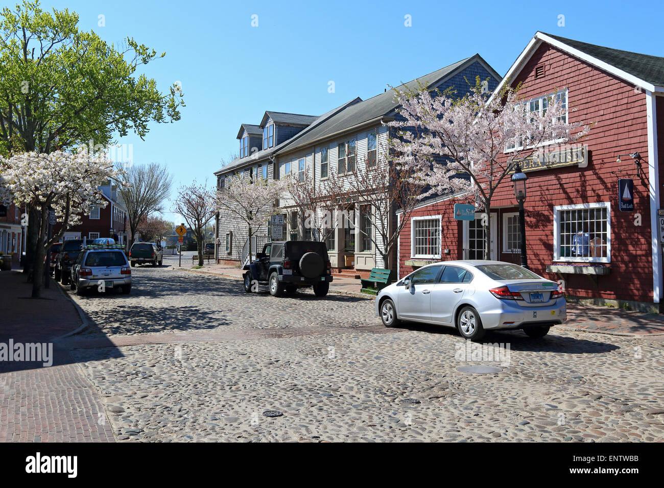 Nantucket Massachusetts on Nantucket Island. Cobble stone, Cobbled street near town centre, center. - Stock Image