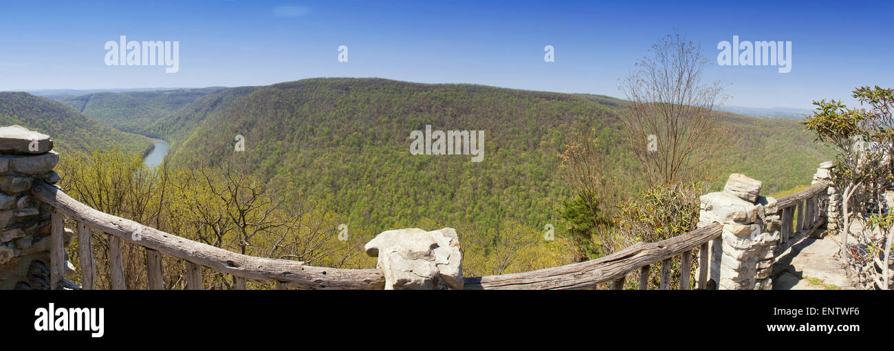 Panoramic view of Cheat River valley from overlook viewing platform in Coopers Rock State Forest. - Stock Image