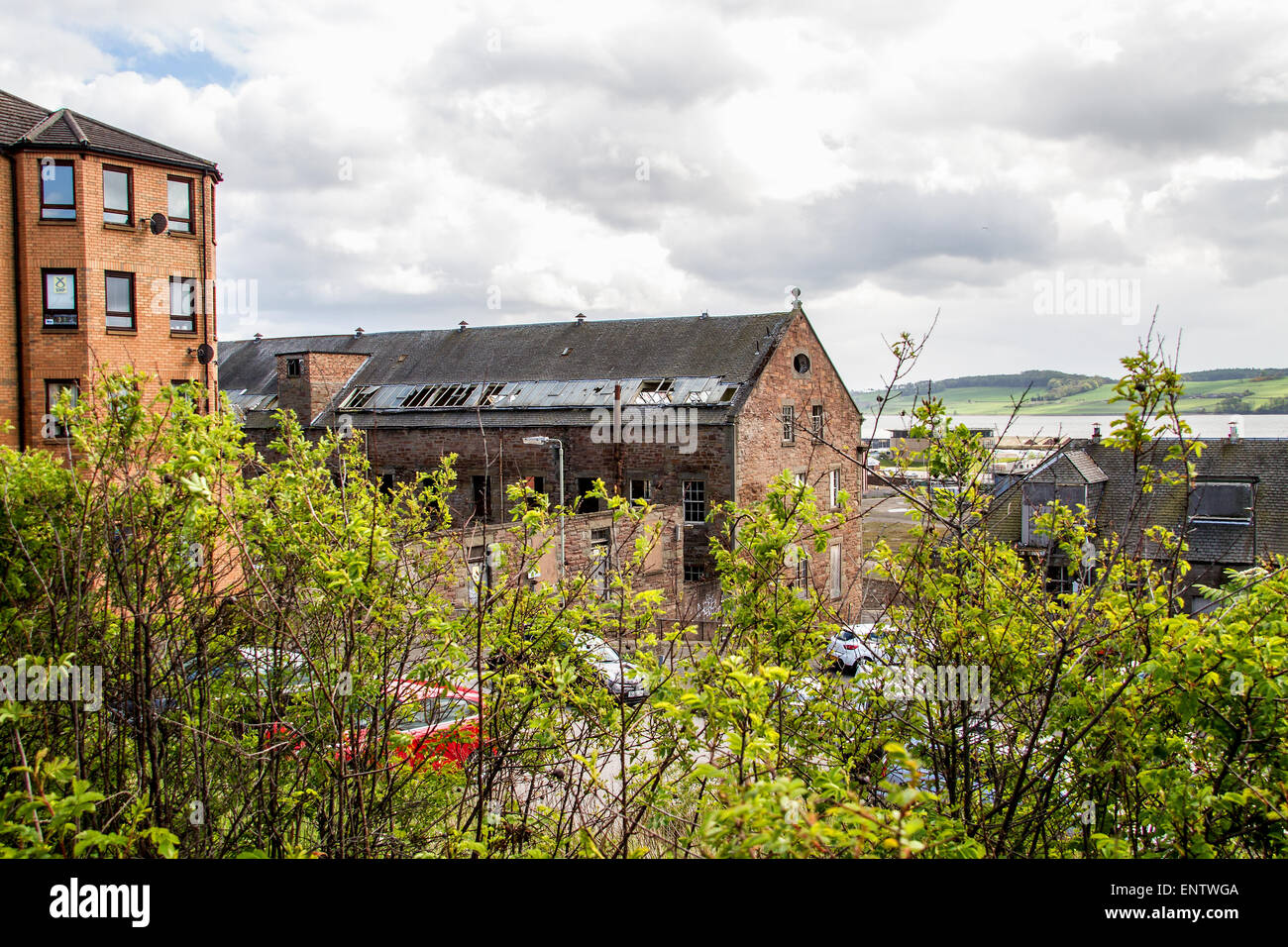 View of the 1836 derelict William Halley & Sons Ltd Jute Mill which is a Listed Building in Dundee,UK - Stock Image
