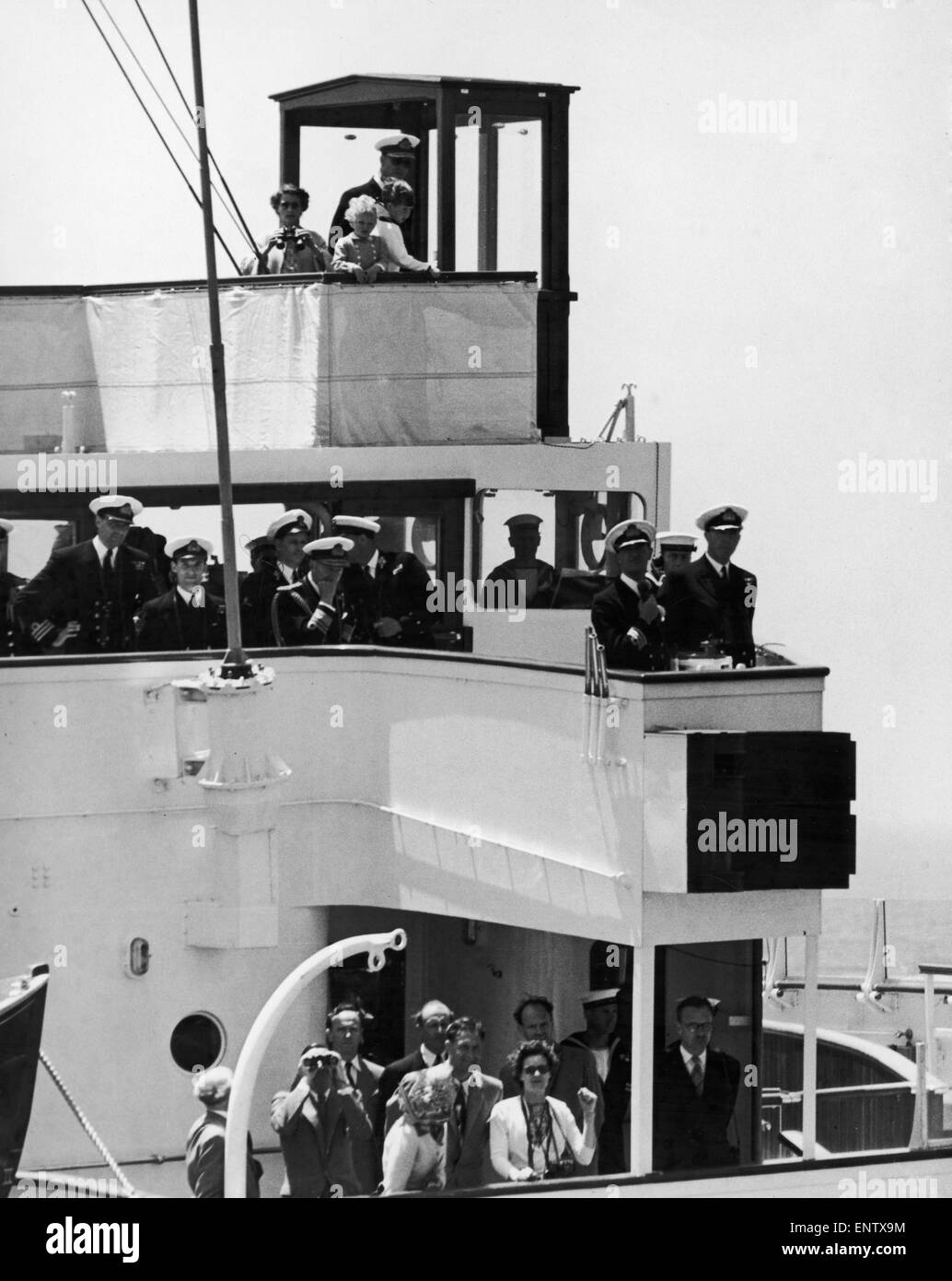 The Royal Yacht Britannia carrying the Royal Family arriving in Malta.. 3rd May 1954. Stock Photo