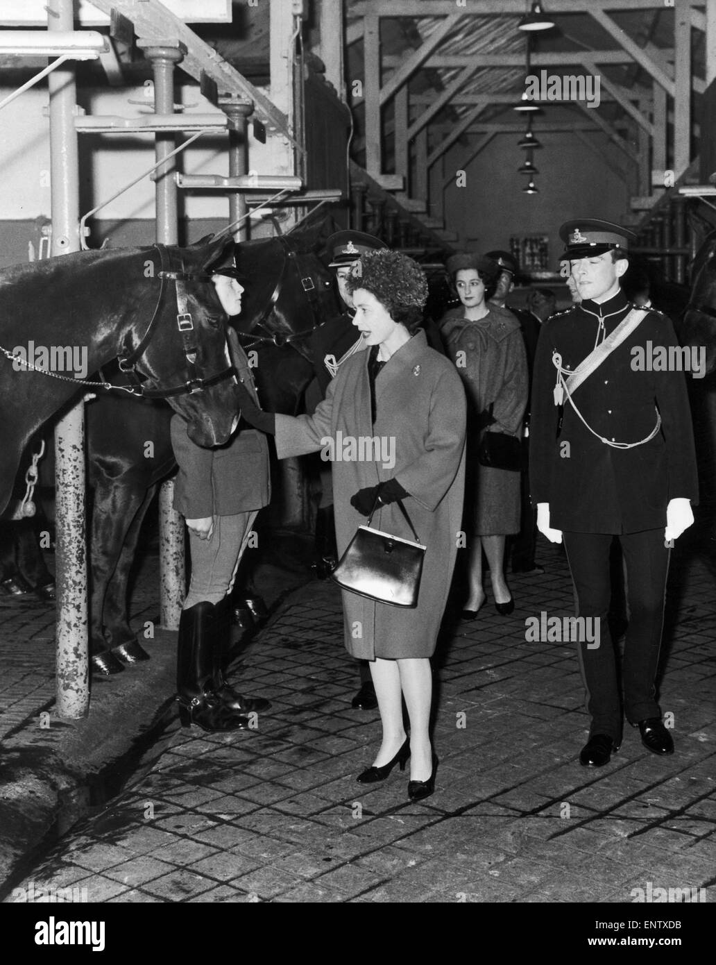 The Queen visiting The King's Troop Royal Horse Artillery at St John's Wood. 15th November 1962. - Stock Image