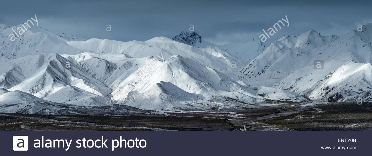 Polychrome Pass under snow in Denali national park Alaska - Stock Image