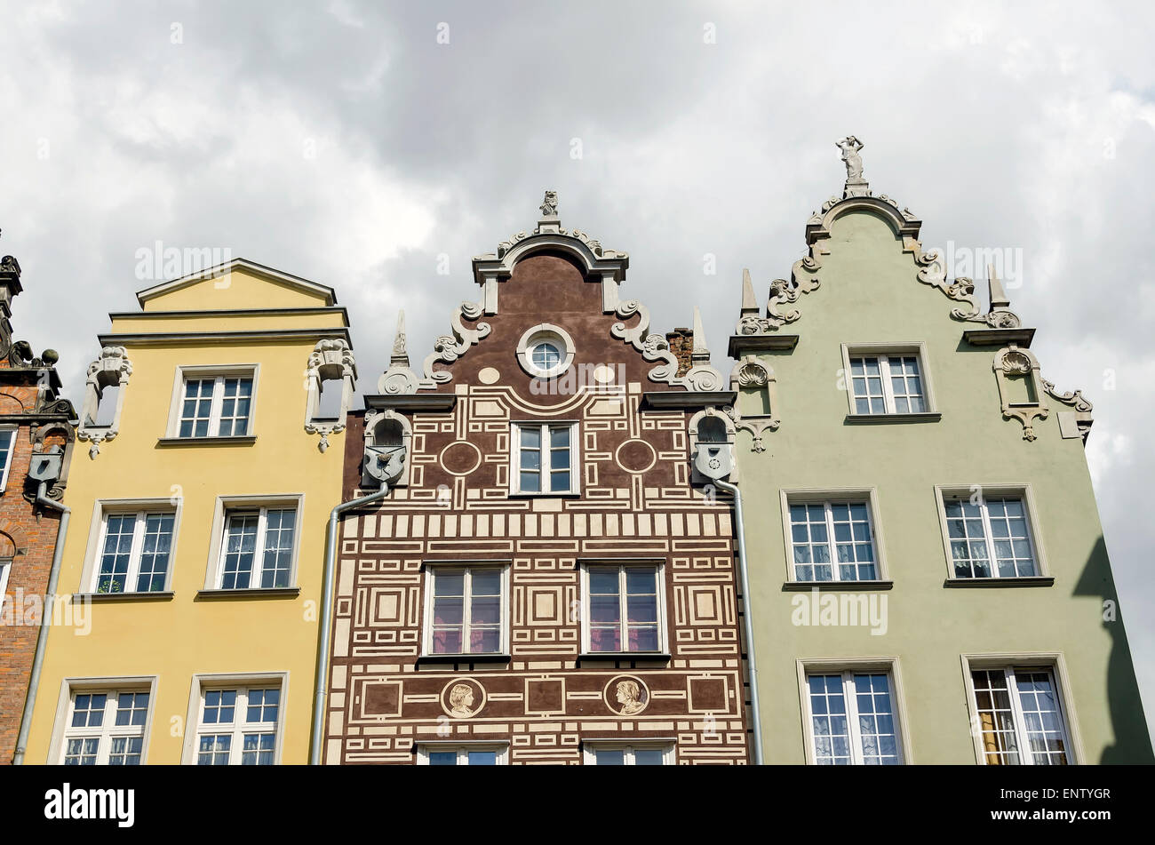 Old Town Architecture Gdansk Poland showing several styles of tenement houses with gabled roofs - Stock Image