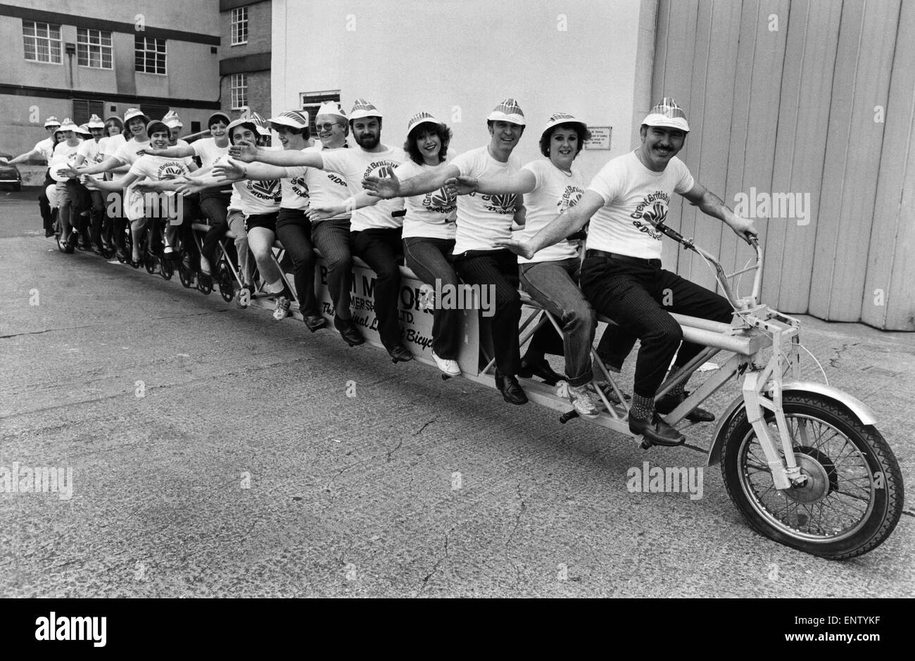 24 seater bike ridden by Debenham's Crew to promote British Week in their stores. Circa 1979 - Stock Image