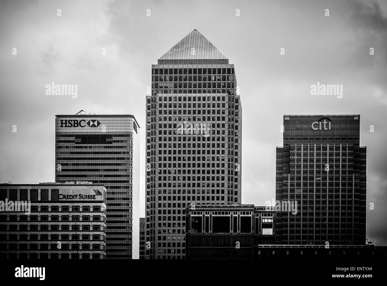 View of Canary Wharf from South side of river Thames (Rotherhithe, Southwark, London.) - Stock Image
