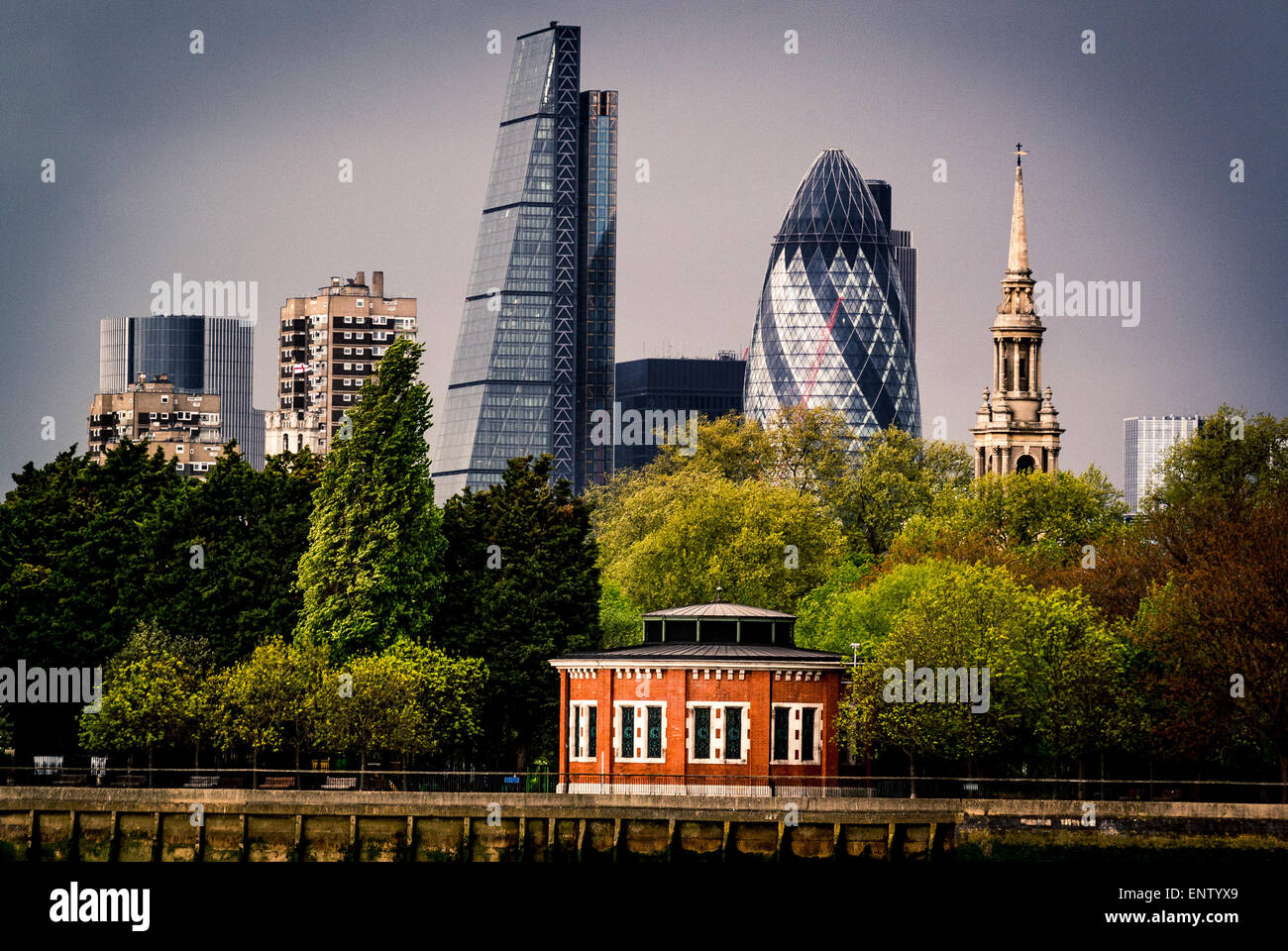 The Gherkin and Cheese Grater buildings from south side of river Thames, Air shaft to Rotherhithe Tunnel - Stock Image