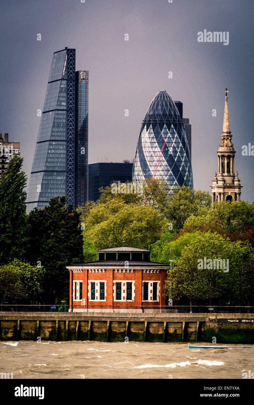 The Gherkin and Cheese Grater buildings from south side of river Thames, Air shaft to Rotherhithe Tunnel, King Edward - Stock Image