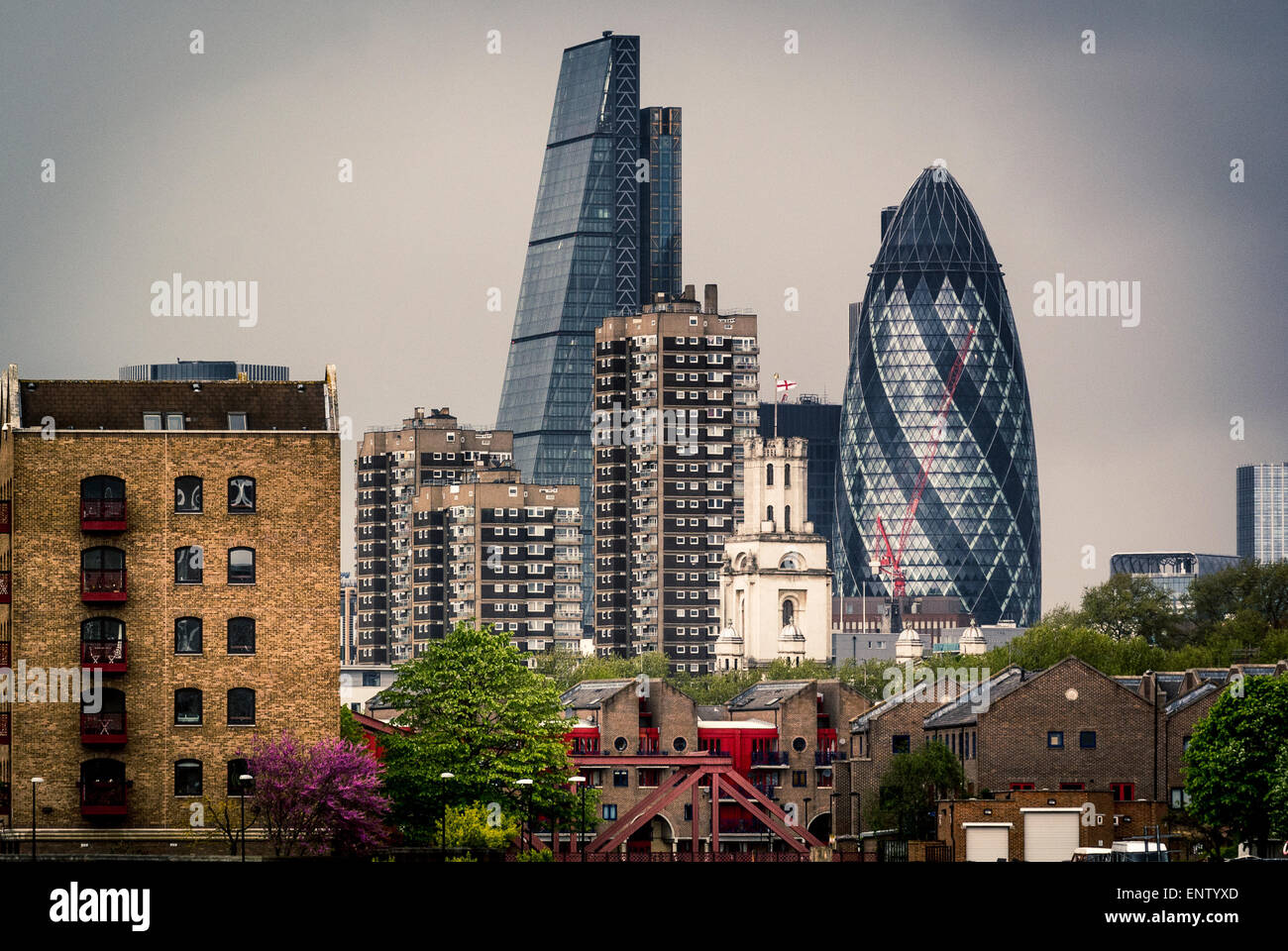 The Gherkin and Cheese Grater buildings from south side of river Thames. - Stock Image