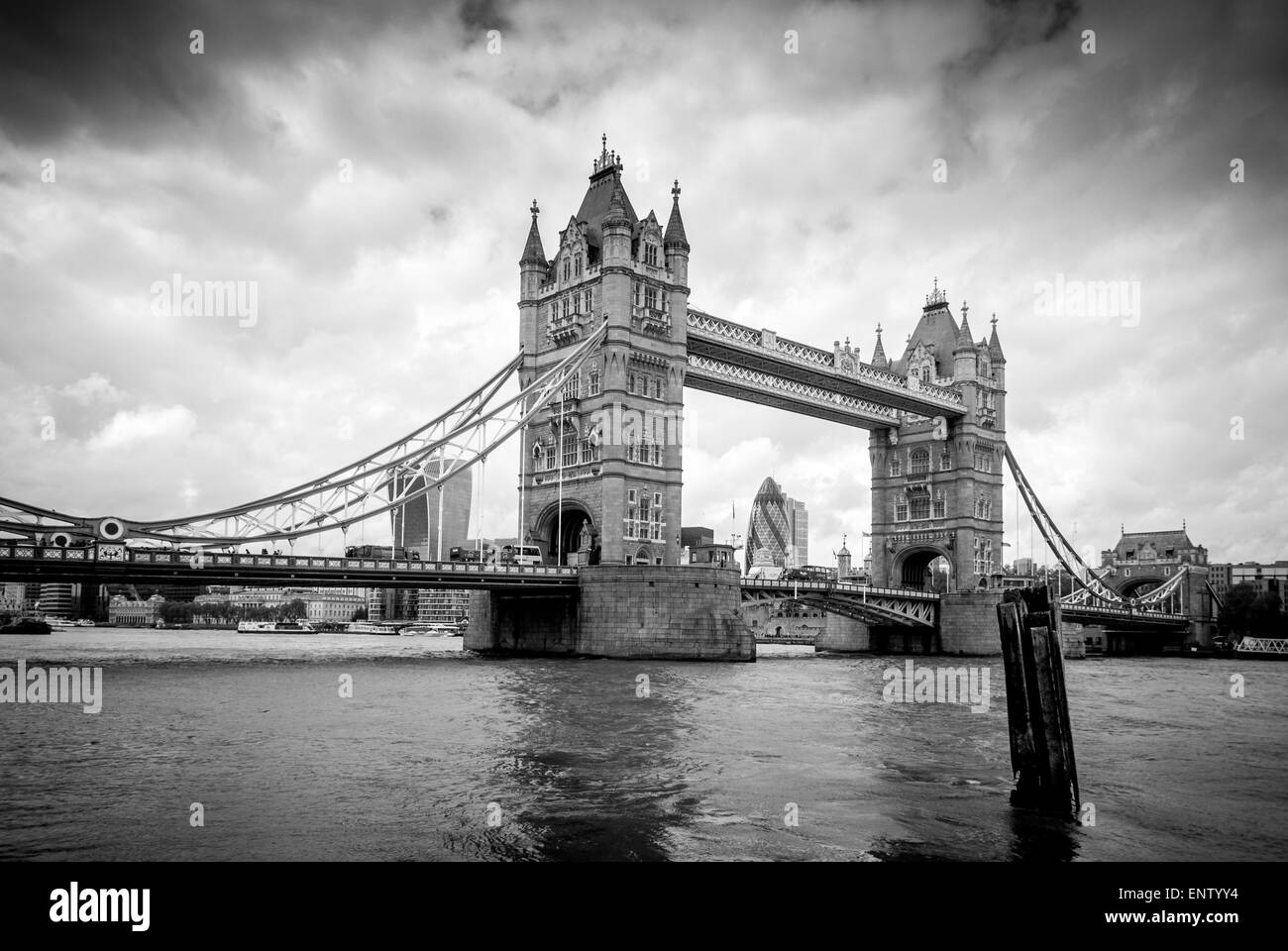 Tower Bridge, London, viewed from south side of river Thames Stock Photo