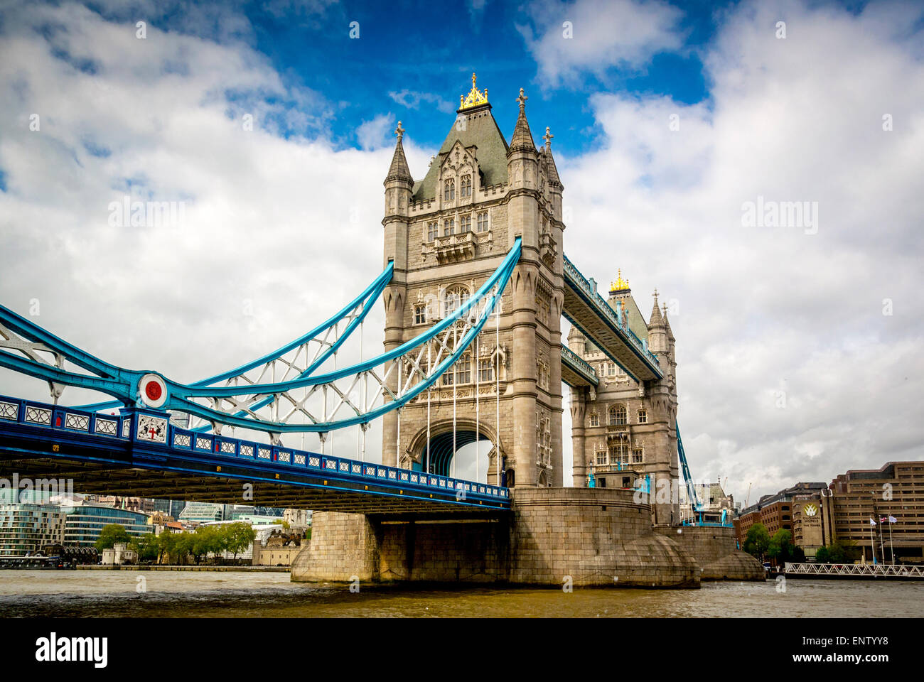 Tower Bridge, London, viewed from south side of river Thames - Stock Image