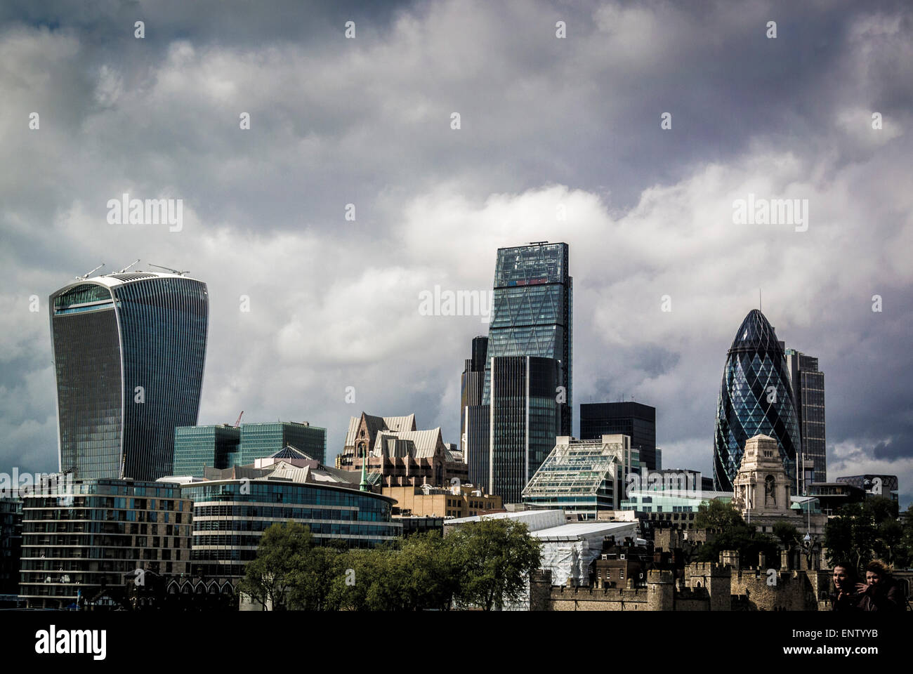 The Gherkin, cheesegrater and Walkie-Talkie building viewed from Tower Bridge. - Stock Image