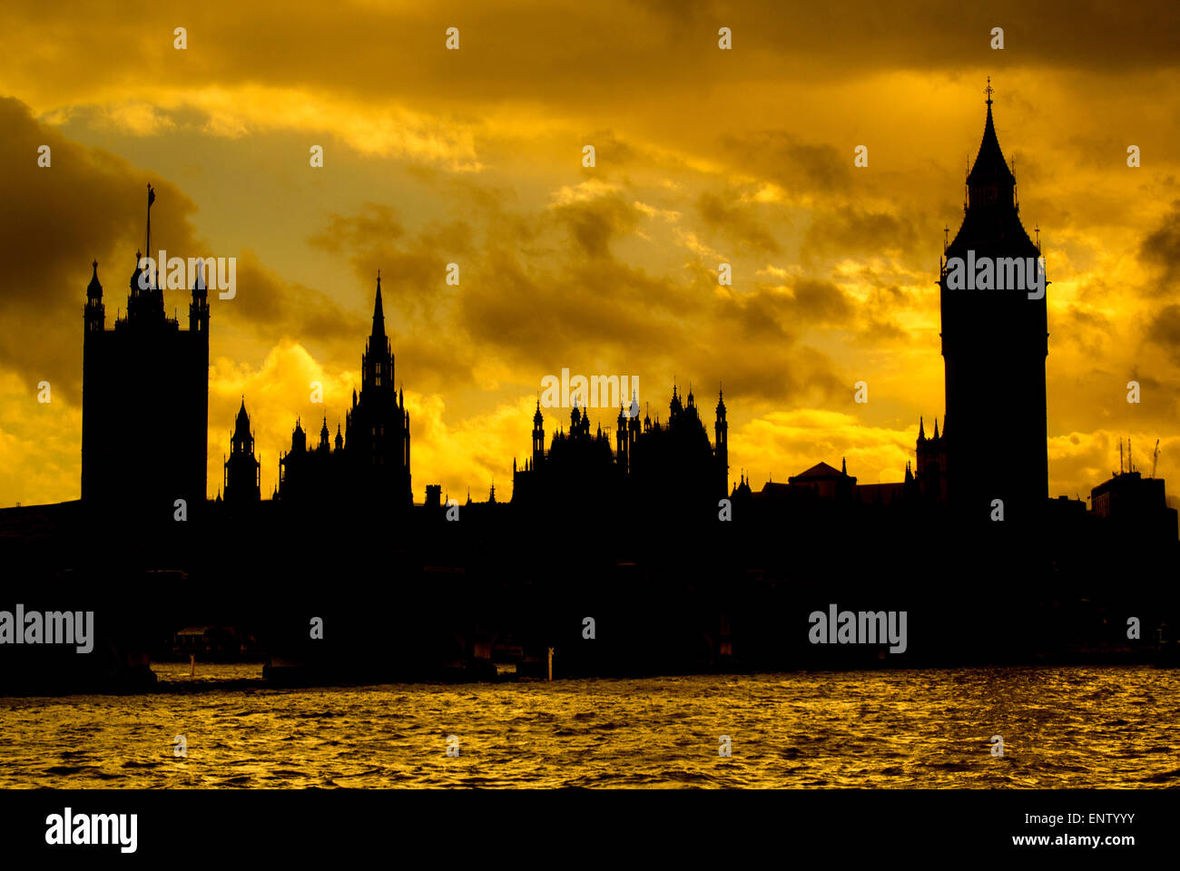 Houses of Parliament, Westminster, London, Sunset - Stock Image