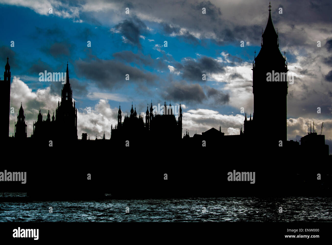 Houses of Parliament, Westminster, London, Silhouette - Stock Image