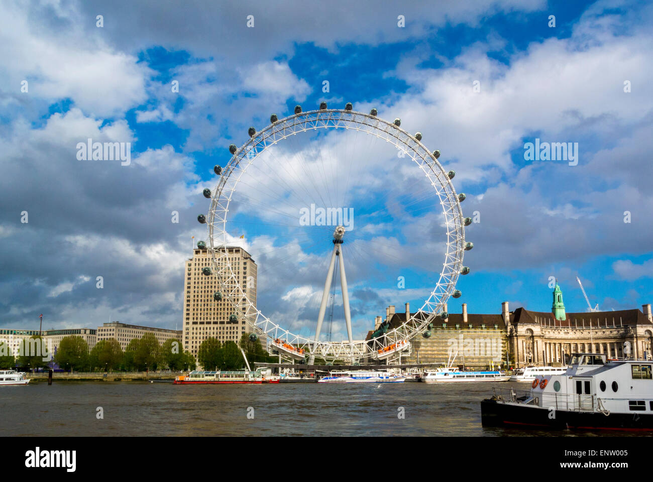The London Eye, River Thames, London, UK. Stock Photo