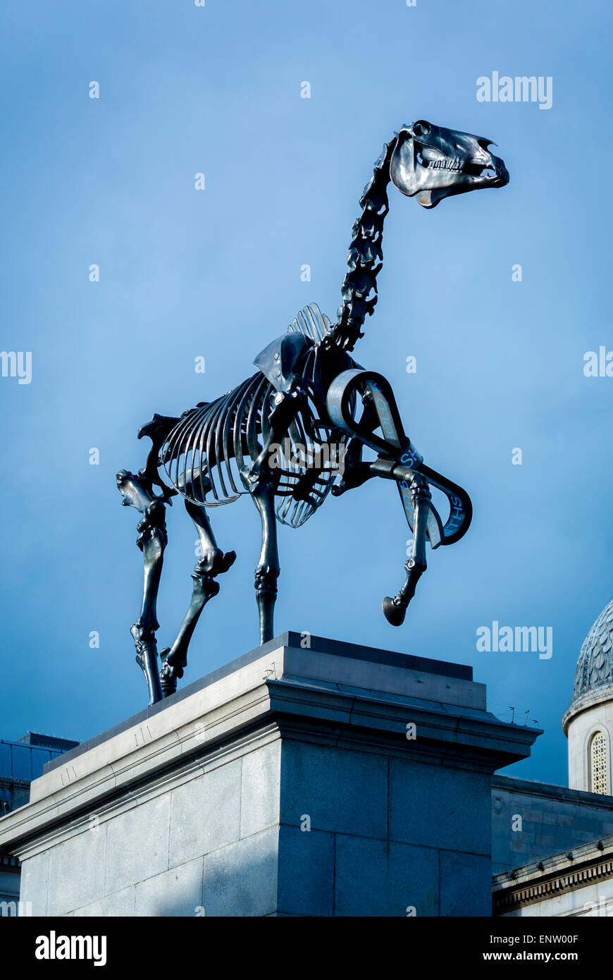 Gift Horse by artist Hans Haacke on the Fourth Plinth, Trafalgar Square, London, UK. - Stock Image
